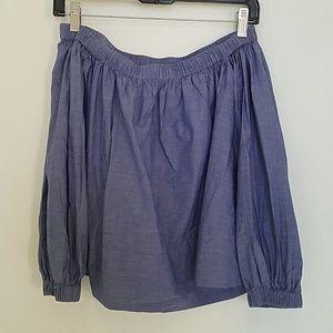 Cynthia Rowley blue smock off shoulder blouse